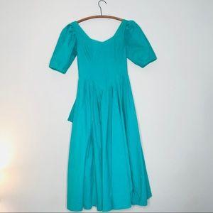 Vintage Retro 80's Cotton Emerald Green Prom Dress